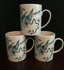 Wedgwood Blue Bird Queens Ware Ceramic Mugs, Set of 3, Discontinued 2018