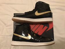 2013 Nike Air Jordan 1 Retro High OG Black Gold Patent Leather 555088-019 SZ 14