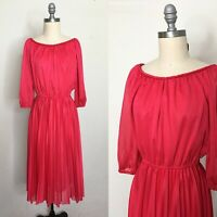Vintage 80s Bernie Bee Hot Pink Secretary Dress Size Large