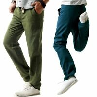 Men's Loose Linen Trousers Drawstring Slacks Flax Casual Pants Straight Leg
