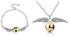 Harry Potter Golden Snitch Quidditch Silver Necklace & Bracelet Gift Set Idea