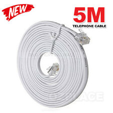 5M Telephone Phone Extension Cord Cable Plug for Adsl ADSL2 Filter Fax Plug