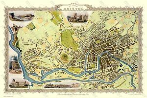 "OLD MAP OF BRISTOL 1851 BY JOHN TALLIS 30"" x 20"" PHOTOGRAPHIC PRINT"