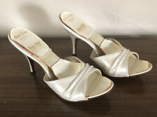 Vintage Gold Room Springolator High Heels Shoes Pearl White 7.5B 4�