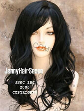 Beautiful Solid Black Wavy Long Wig with skin top JSPP 1