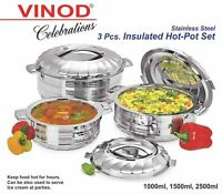 3pc Set - Stainless Steel Cold Hot Pot Food Insulated Casserole Double Wall