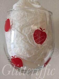 x30 Small Red Apples Vinyl Decal Sticker for DIY Teacher Gift Glitter Wine Glass