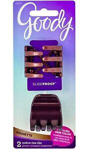 GOODY - Women's SlideProof Claw Clip Medium - 2 Count - Brunette