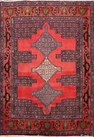 Traditional Geometric Bidjar Area Rug Wool Hand-knotted Oriental Carpet 4x5 RED