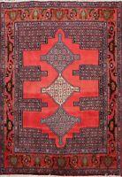 Traditional Geometric Bidjar Area Rug Wool Hand-knotted Oriental Carpet 4x5 RED