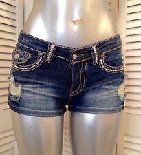 $359 A7 Short   Blu Jeans -  S  -Fully embellished with SWAROVSKI ELEMENTS !!!
