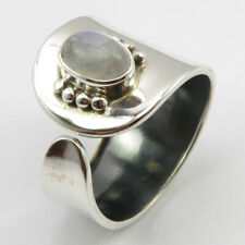 Combined Shipping 925 Solid Silver Rainbow Moonstone Ring # 7.5