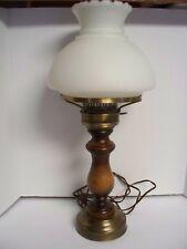 "Vintage 21"" White Glass HURRICANE Lamp w/ WOODEN & Brass Base"