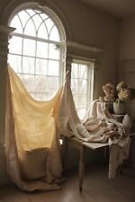 Antique  French linen sheets 3 MATCHING upholstery fabric WASHED slipcover HEAVY