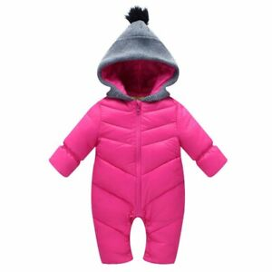 Baby Ski Snow Suit All-In-One Hoodie Water Repellant Rose Snowsuit Size 00
