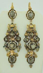 Lengthy Georgian 18K & Silver Rose Cut Diamond Earrings