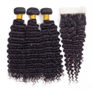 Deep Wave Unprocessed Virgin Human Hair 3 Bundles w/4*4 Free Part Lace Closure