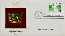 1990 PCS Olympic Games : Tennis - First Day Issue & 22kt Gold Replica stamp