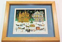 Charles Wysocki CHRISTMAS  WINTER Vintage Signed Framed Art Print Picture