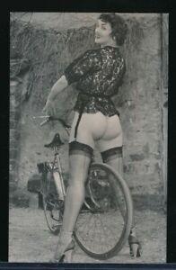 1960s Original Sexy Photo Cute Girl with Bicycle No Panties Heels & Hose vv
