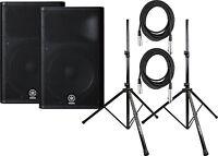 "Yamaha DXR15 15"" 2-Way Class D Powered Speaker Pair Bundle w/Cables&Stands"