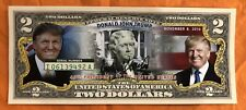 DONALD TRUMP President Campaign, Colorized 2 Dollar Bill Legal Tender Bank Notes