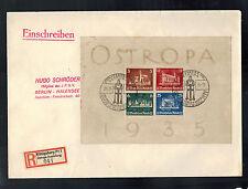 1935 Konigsberg Germany cover Ostropa Souvenir Sheet # B68