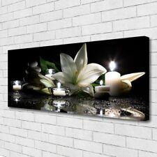 Leinwand-Bilder Wandbild Canvas Kunstdruck 125x50 Steine Blume Kerzen Kunst
