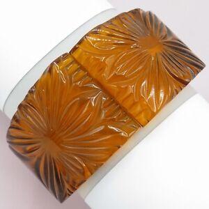 Vintage 1940s Carved Bakelite Applejuice Rootbeer Flower Clamper Wide Bracelet