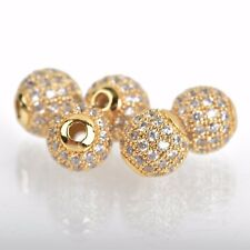 2 Gold Micro Pave' Round Beads w/ Cubic Zirconia Crystals, 8mm, bme0424
