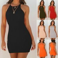 Sweet Strappy Spring Women  Sleeveless Bodycon Cotton Party Eveing Short Dress
