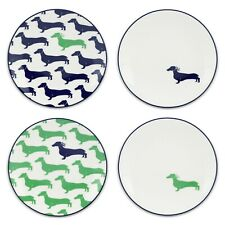 """*NEW* Kate Spade """"Wickford Dachshund"""" Tidbit Plates (5¾ in) - Set of 4 *NWT*"""