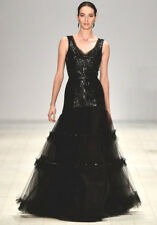OSCAR DE LA RENTA Black Tulle Sequin Beaded Floral Embroidered Gown 10