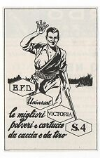 Pubblicità epoca CARTUCCE CACCIA BPD VICTORIA advert reklame werbung publicitè