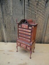 Dolls House Miniature Ornate Wooden Tallboy Drawers Queen Anne Legs