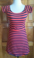 DressNStyle FOREVER 21 Los Angeles Striped Red & Navy Blue Mini Skater Dress