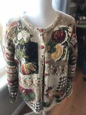 VINTAGE HEIRLOOM COLLECTIBLES Tan/Beige Fall Scene Button Cardigan Sweater XL