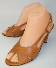 Vintage Maserati Womens Slingback Heels US 7 Brown Leather Buckle Peep Toe Italy