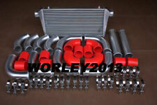 Aluminum front mount Intercooler 600x300x70 + 76 mm turbo pipe + Red hose