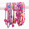 12 Pack Pink Kids Bead Neckaces Girls Pink Pinata Loot Party Bag Filler Toys