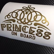 GOLD Princess on board Car Sticker Decal Funny Drift JDM VDUB Tiara Babe Girl