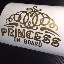 GOLD Princess on board Car Sticker Decal Funny Drift JDM VDUB Tiara Babe Girl
