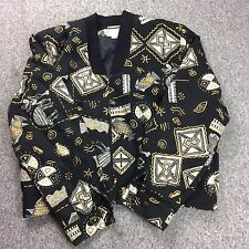 Vintage Haley Gold Black Bomber Jacket zipper jacket Zebra Fish Tribal Large 90s