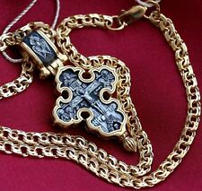 AMULET CROSS CHAIN SET RUSSIAN ORTHODOX SILVER 925+GOLD .999, 24K BEST OFFER !!!