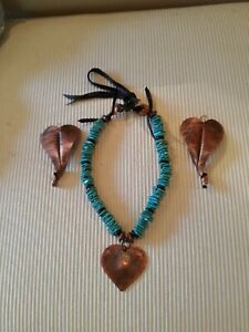 VINTAGE TURQUOISE NECKLACE WITH HANDMADE COPPER HEART PENDANT AND EARRINGS