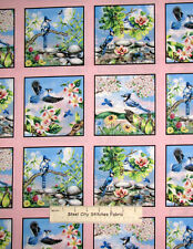 Elizabeths Studio Feathered Friends Bird Scenes Blue Pink Cotton Fabric PANEL