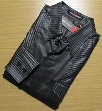 YASHI YAMAMURI (sz.S/M) Black&Grey Striped Luxury Italian Designer Fitted Shirt