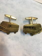 Ford Van Vintage Cufflinks Brass Tone Color Cuff Links Employee Salesman Award