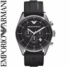 Emporio Armani AR0527 Hommes Noir Sportivo Montre Chronographe - Garantie 2 Ans