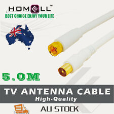 Y-CB33-5M White Video RG6 Coaxial Antenna TV Cable Screen Pal Male/ F Male Gold